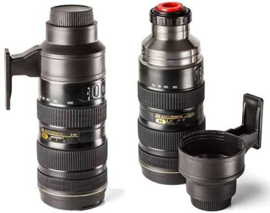 Camera Lens Stainless Steel Travel Mug