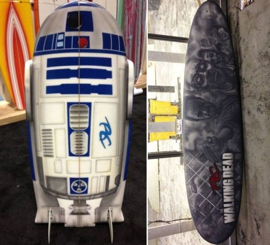 R2-D2 and Walking Dead Surfboards