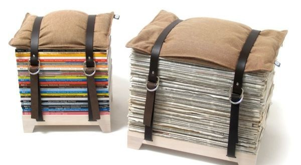 Make a stool using old magazines, two belts, and a pillow