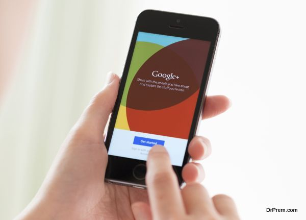 Google Plus application on Apple iPhone 5S